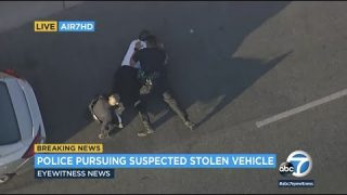 LAPD officers tackle suspect to the ground at end of wild chase through the SFV | ABC7